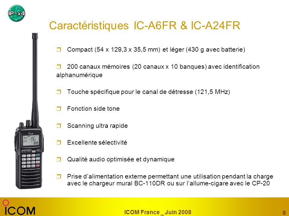 Caractéristiques IC-A6FR & IC-A24FR