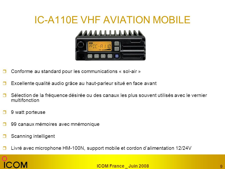IC-A110E VHF AVIATION MOBILE