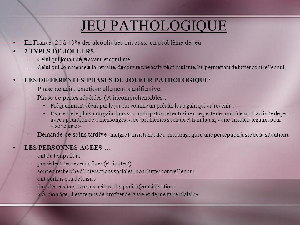 JEU PATHOLOGIQUE En France, 20 à 40% des alcooliques ont aussi un problème de jeu. 2 TYPES DE JOUEURS: