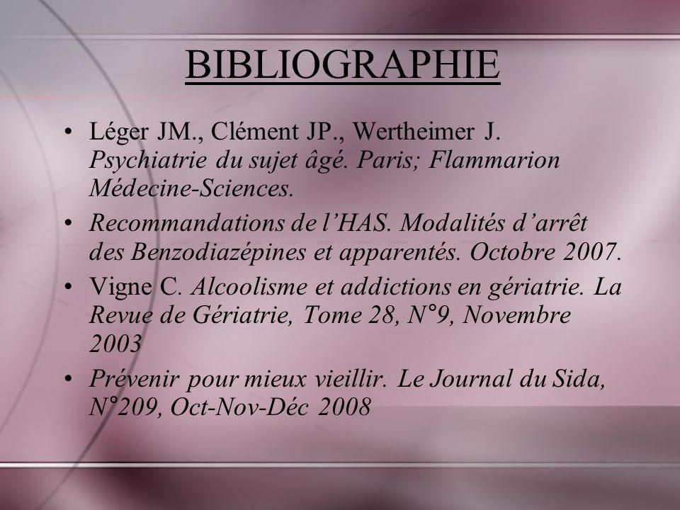 BIBLIOGRAPHIE Léger JM., Clément JP., Wertheimer J. Psychiatrie du sujet âgé. Paris; Flammarion Médecine-Sciences.