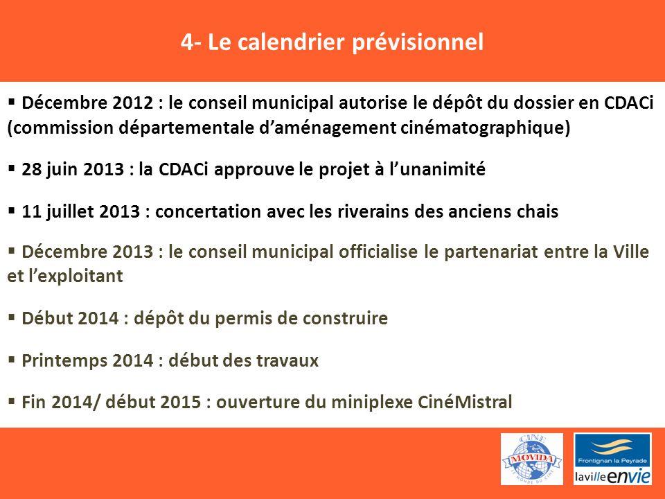 4- Le calendrier prévisionnel