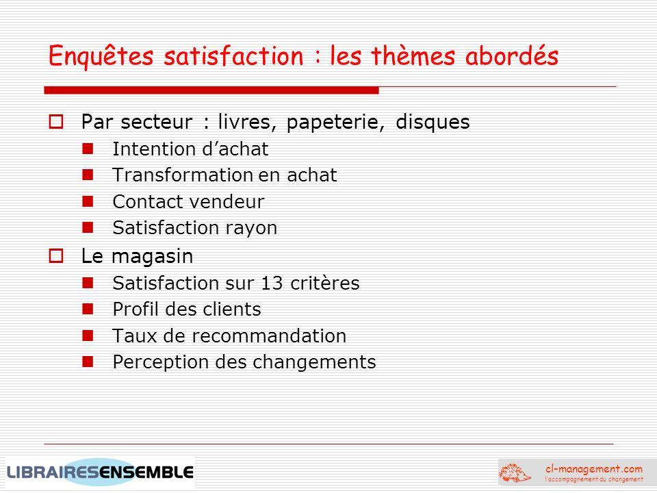 Enquêtes satisfaction : les thèmes abordés