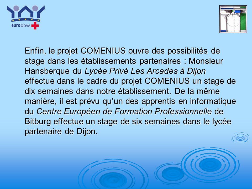 Enfin, le projet COMENIUS ouvre des possibilités de stage dans les établissements partenaires : Monsieur Hansberque du Lycée Privé Les Arcades à Dijon effectue dans le cadre du projet COMENIUS un stage de dix semaines dans notre établissement.