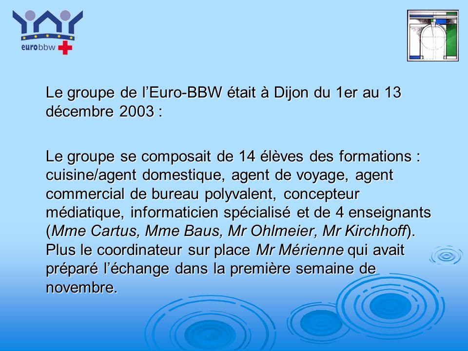 Le groupe de l'Euro-BBW était à Dijon du 1er au 13 décembre 2003 :
