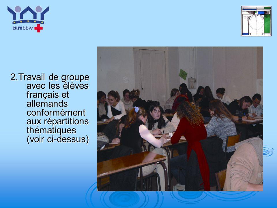 2.Travail de groupe avec les élèves français et allemands conformément aux répartitions thématiques (voir ci-dessus)