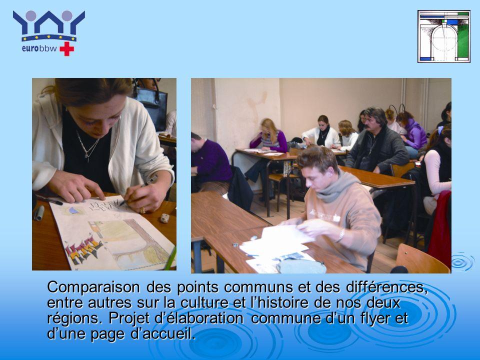 Comparaison des points communs et des différences, entre autres sur la culture et l'histoire de nos deux régions.