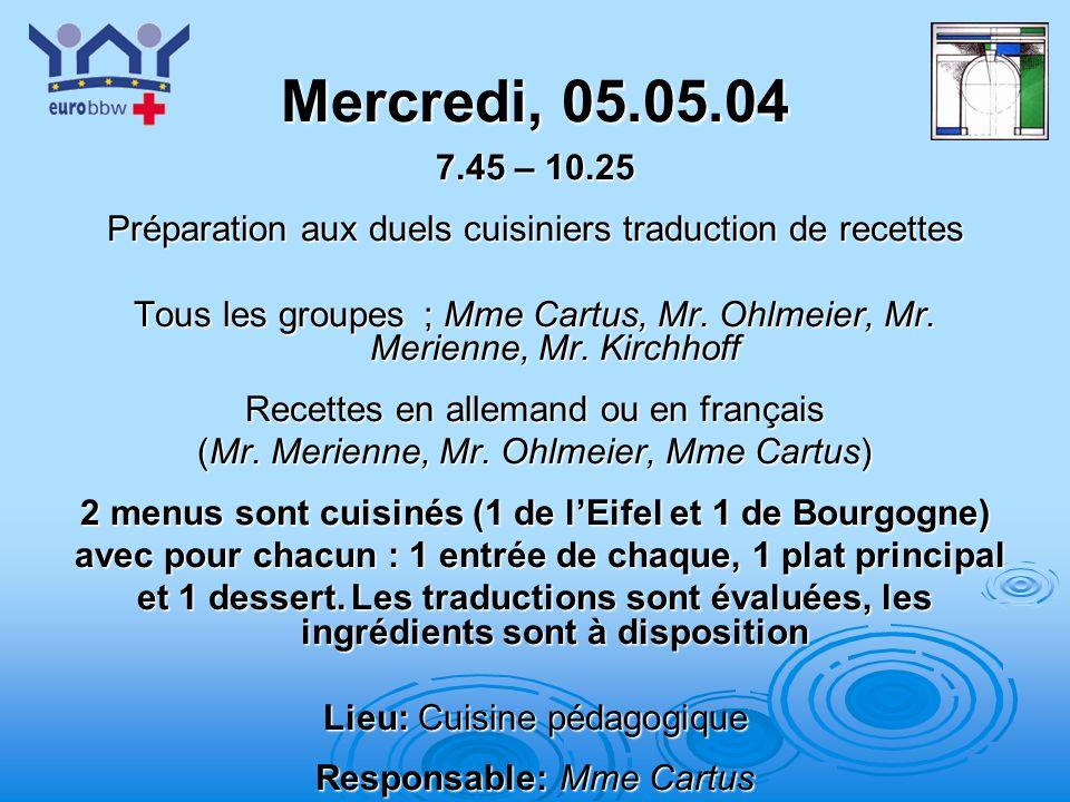 Mercredi, 05.05.04 7.45 – 10.25. Préparation aux duels cuisiniers traduction de recettes.