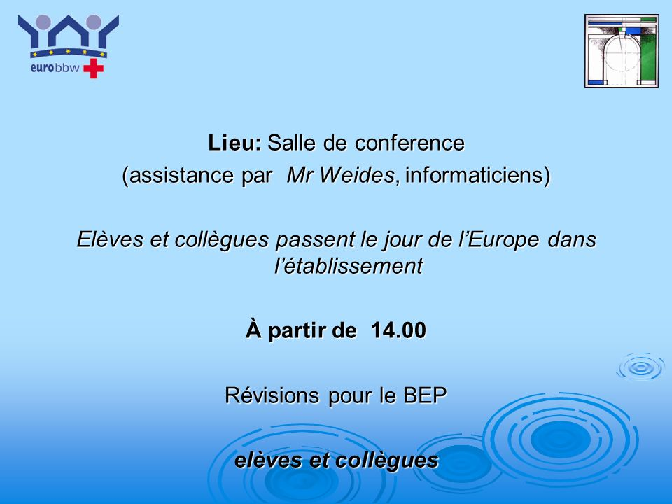 Lieu: Salle de conference (assistance par Mr Weides, informaticiens)