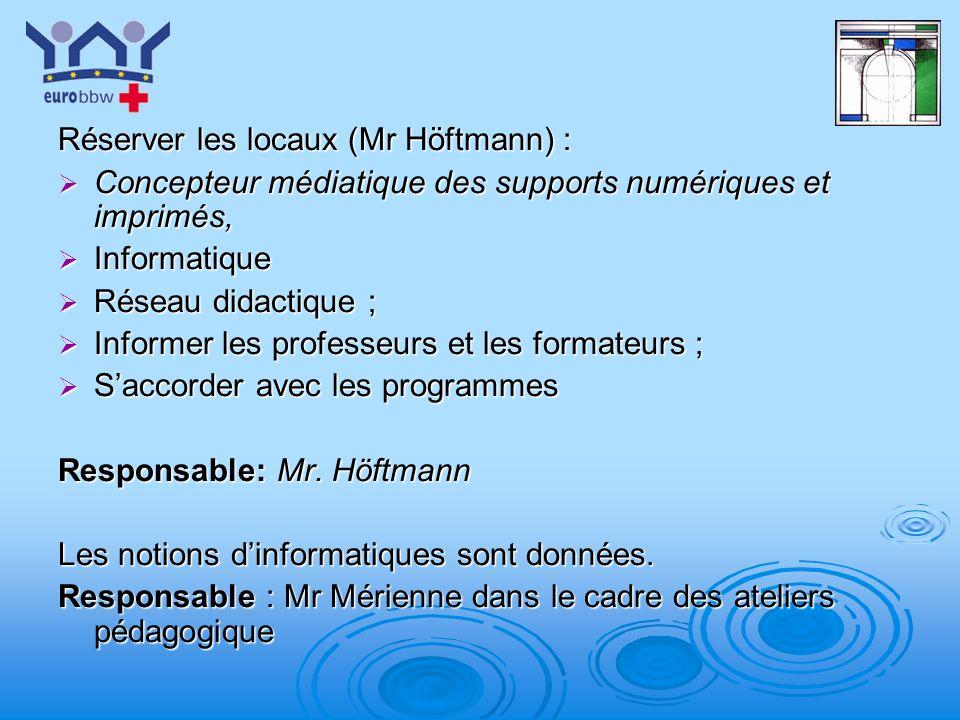 Réserver les locaux (Mr Höftmann) :
