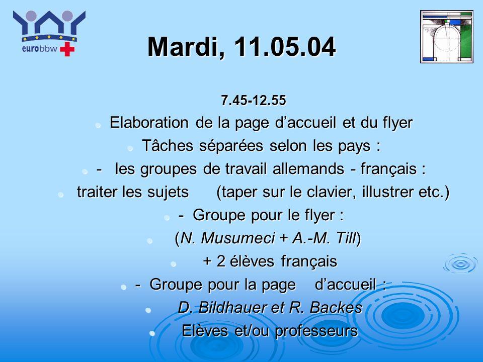 Mardi, 11.05.04 Elaboration de la page d'accueil et du flyer