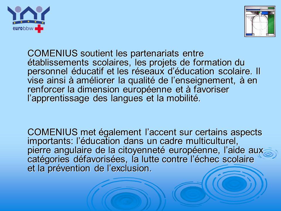 COMENIUS soutient les partenariats entre établissements scolaires, les projets de formation du personnel éducatif et les réseaux d'éducation scolaire. Il vise ainsi à améliorer la qualité de l'enseignement, à en renforcer la dimension européenne et à favoriser l'apprentissage des langues et la mobilité.