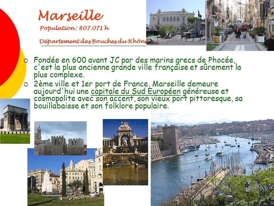 Marseille Population : 807.071 h Département des Bouches du Rhône