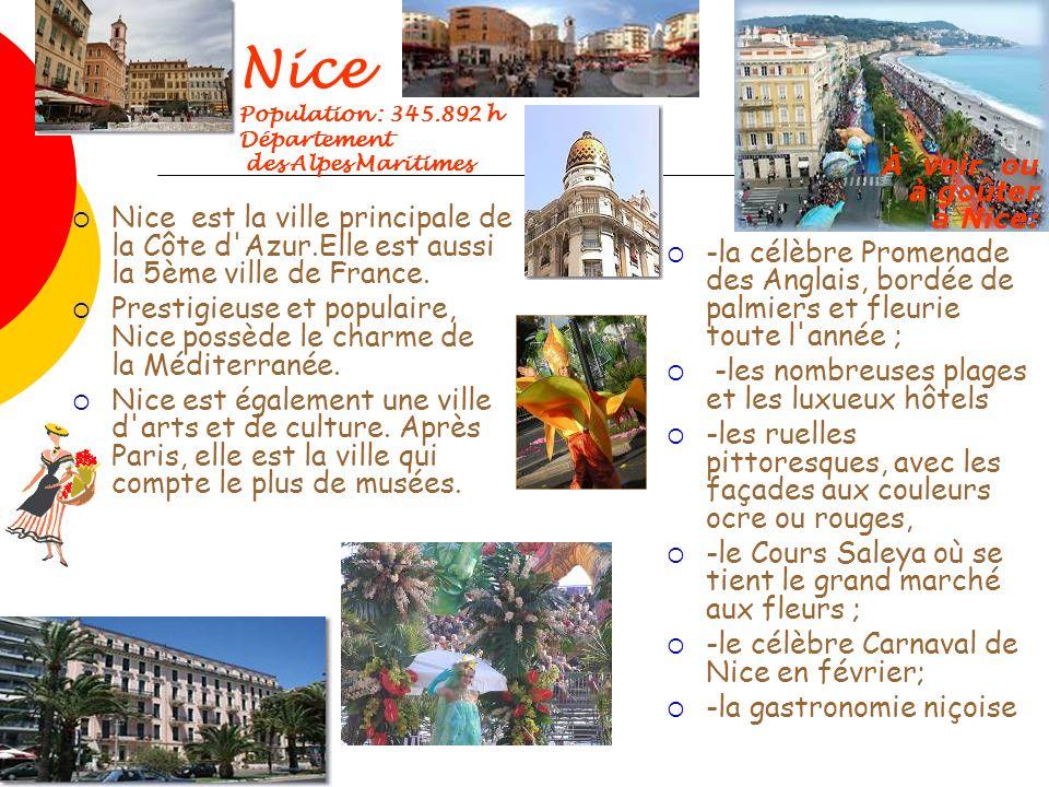 Nice Population : 345.892 h Département. des Alpes Maritimes. À voir ou à goûter à Nice: