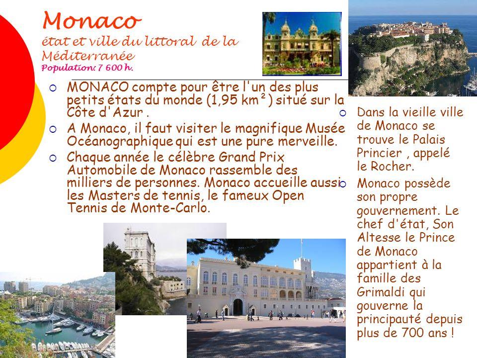Monaco état et ville du littoral de la Méditerranée Population: 7 600 h.