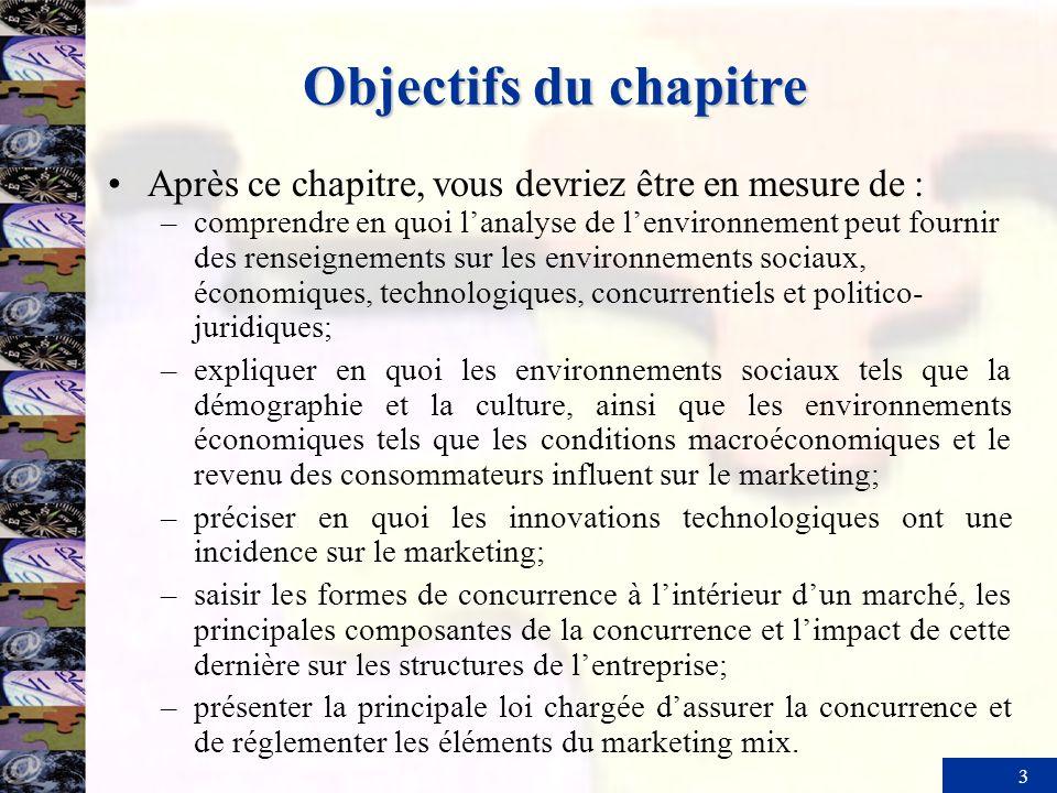 Objectifs du chapitreAprès ce chapitre, vous devriez être en mesure de :