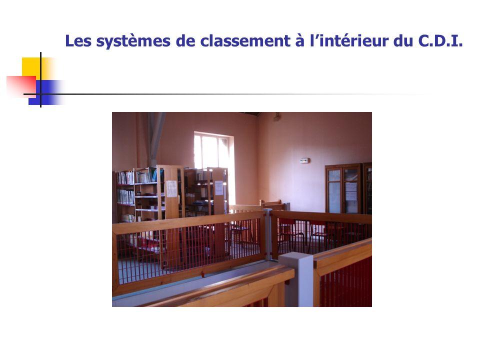 Les systèmes de classement à l'intérieur du C.D.I.
