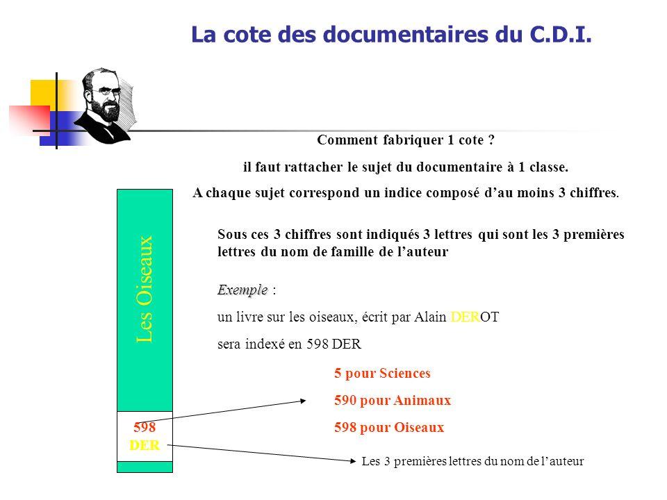 La cote des documentaires du C.D.I.