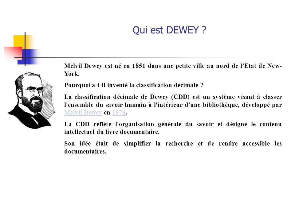Qui est DEWEY Melvil Dewey est né en 1851 dans une petite ville au nord de l'Etat de New- York.