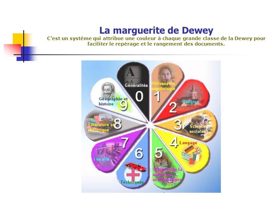 La marguerite de Dewey C'est un système qui attribue une couleur à chaque grande classe de la Dewey pour faciliter le repérage et le rangement des documents.
