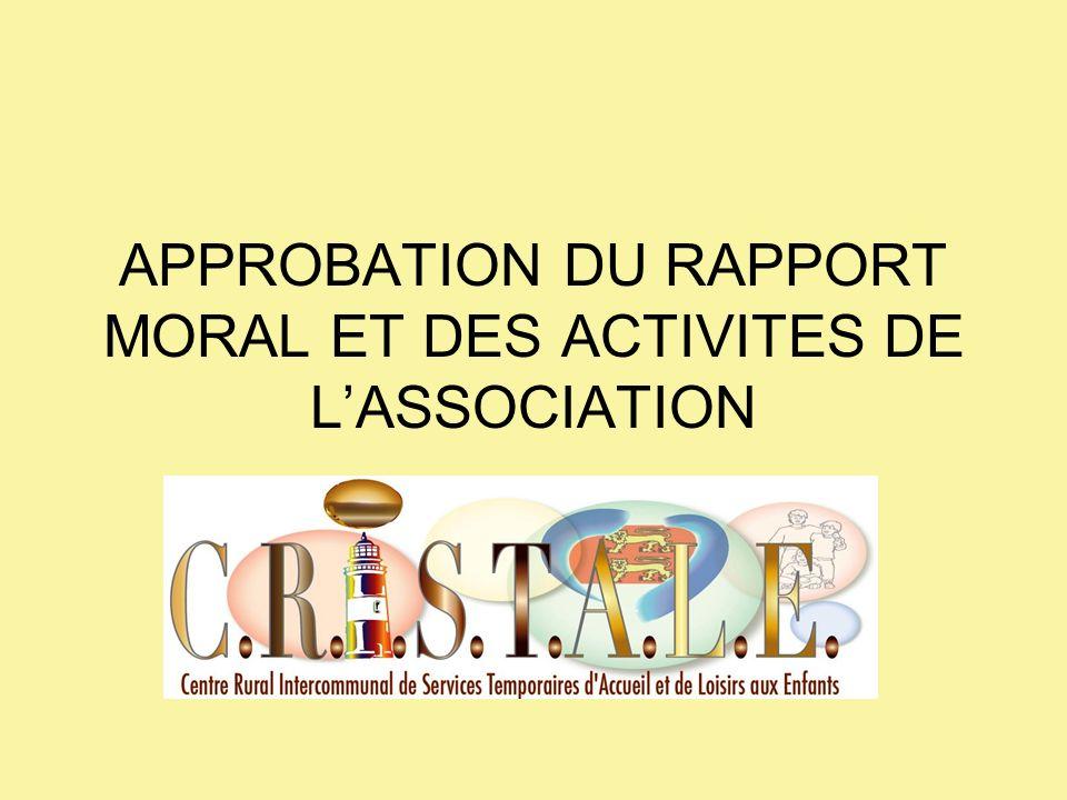 APPROBATION DU RAPPORT MORAL ET DES ACTIVITES DE L'ASSOCIATION