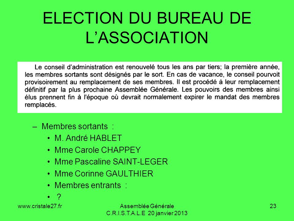 ELECTION DU BUREAU DE L'ASSOCIATION
