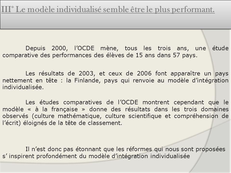 III° Le modèle individualisé semble être le plus performant.