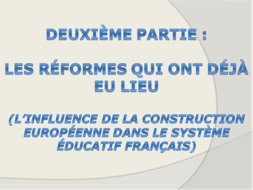 Deuxième partie : Les réformes qui ont déjà eu lieu (L'influence de la construction européenne dans le système éducatif français)