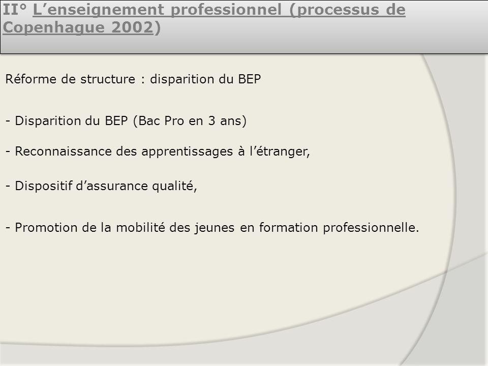 II° L'enseignement professionnel (processus de Copenhague 2002)