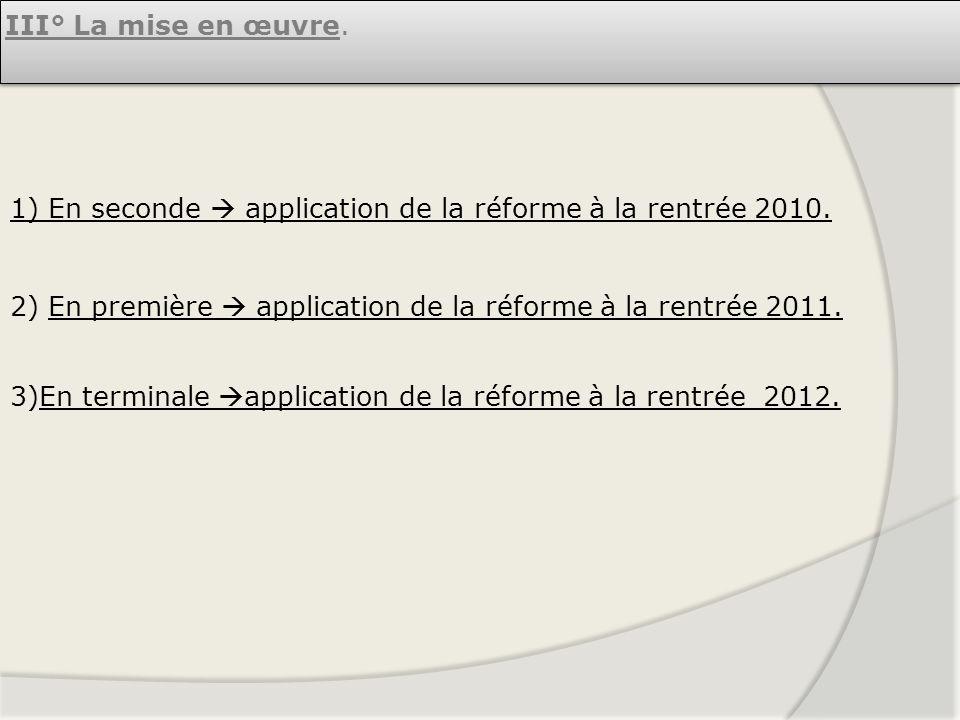 III° La mise en œuvre. 1) En seconde  application de la réforme à la rentrée 2010. 2) En première  application de la réforme à la rentrée 2011.