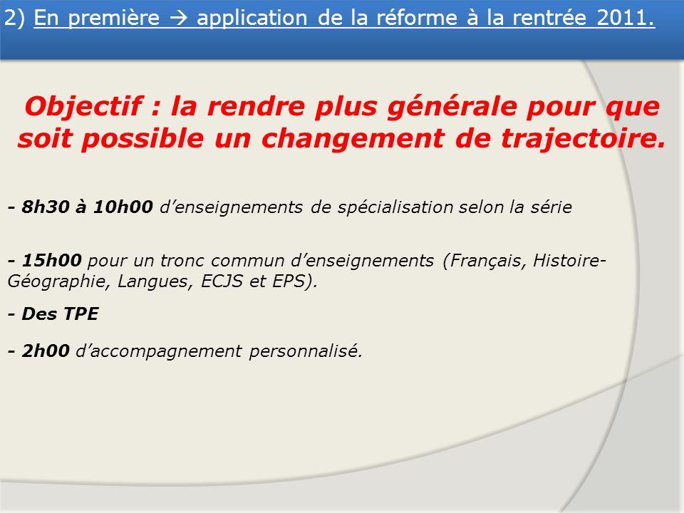 2) En première  application de la réforme à la rentrée 2011.