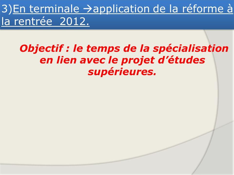 3)En terminale application de la réforme à la rentrée 2012.