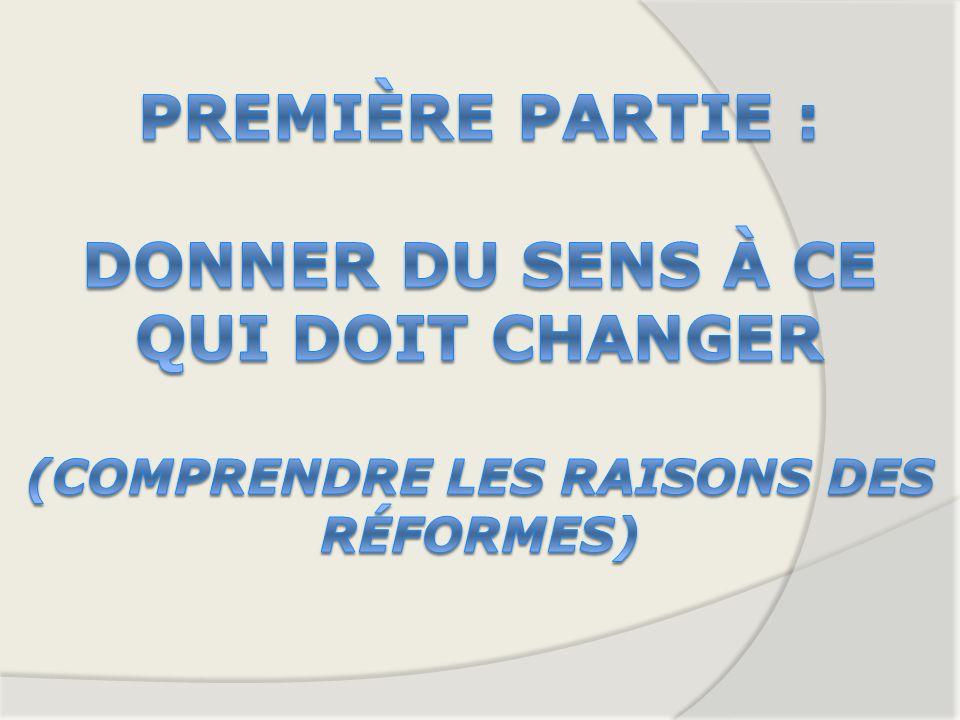 Première partie : Donner du sens à ce qui doit changer (Comprendre les raisons des réformes)