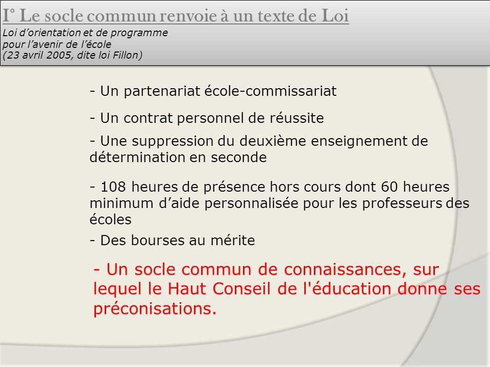 I° Le socle commun renvoie à un texte de Loi Loi d'orientation et de programme pour l'avenir de l'école (23 avril 2005, dite loi Fillon)