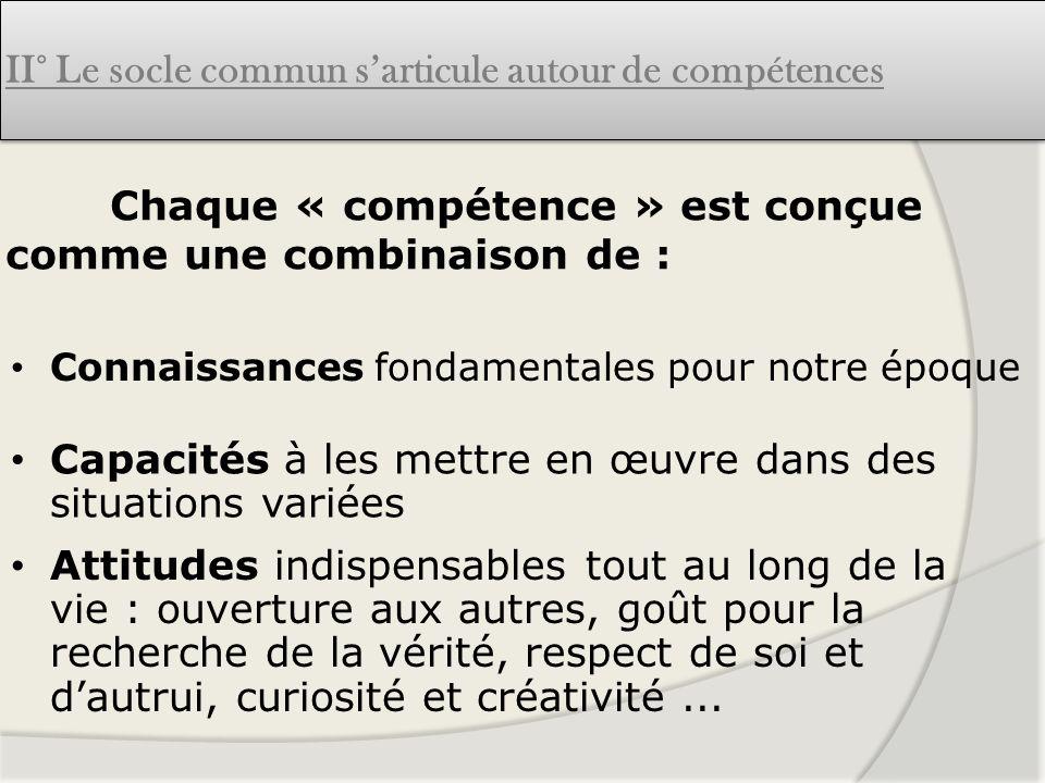Chaque « compétence » est conçue comme une combinaison de :