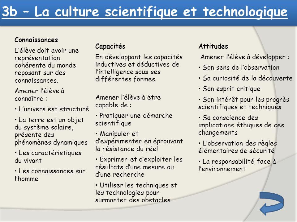 3b – La culture scientifique et technologique