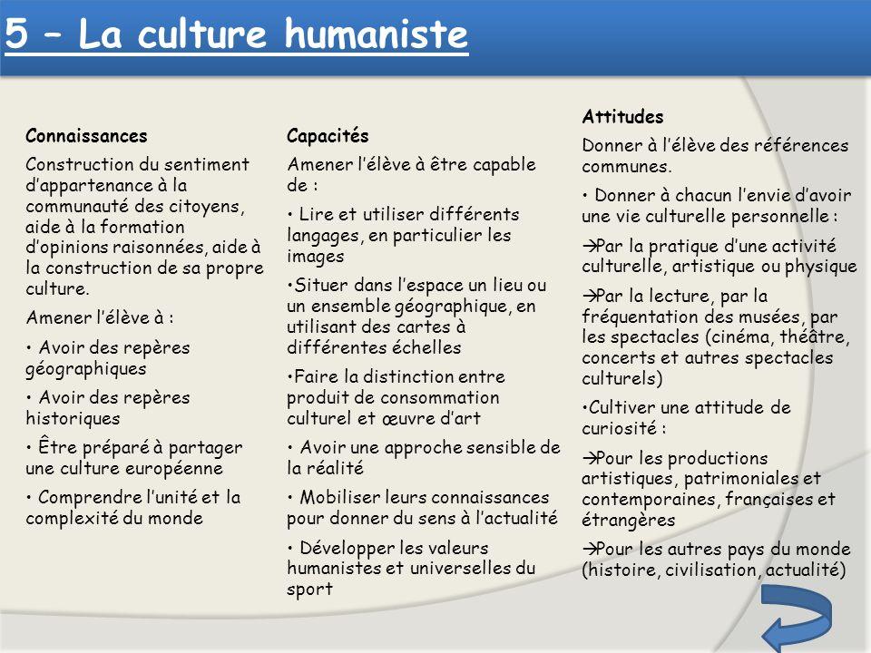 5 – La culture humaniste Attitudes
