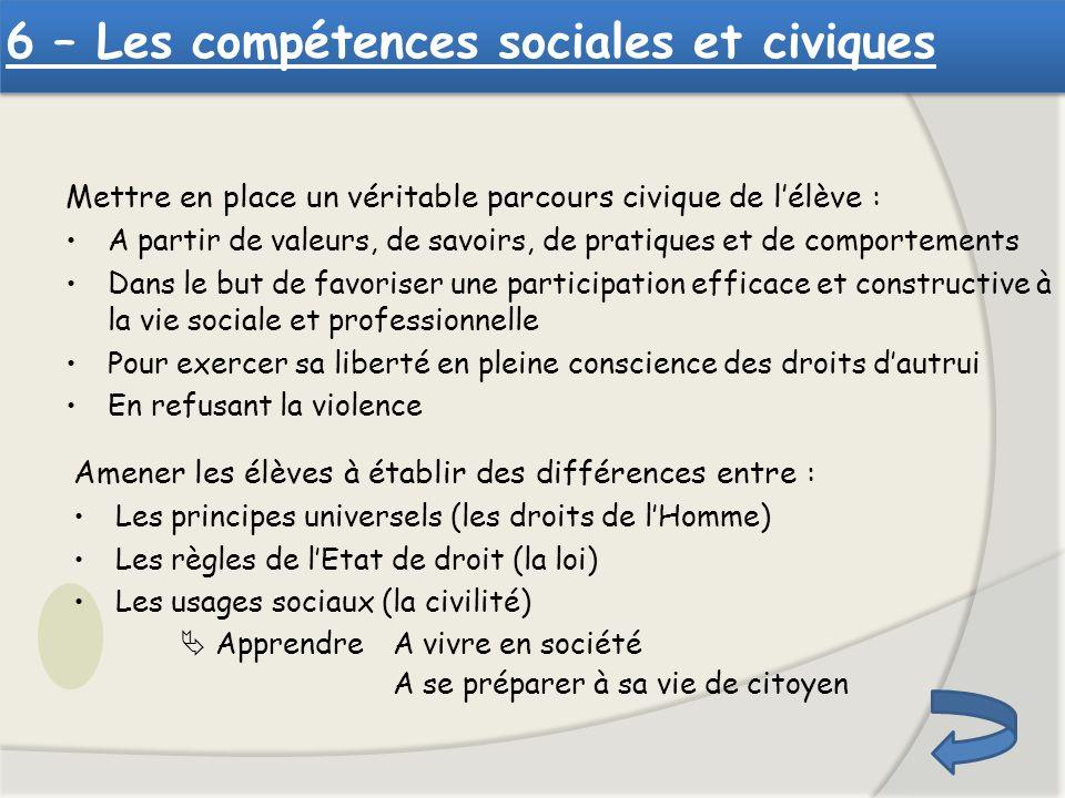 6 – Les compétences sociales et civiques