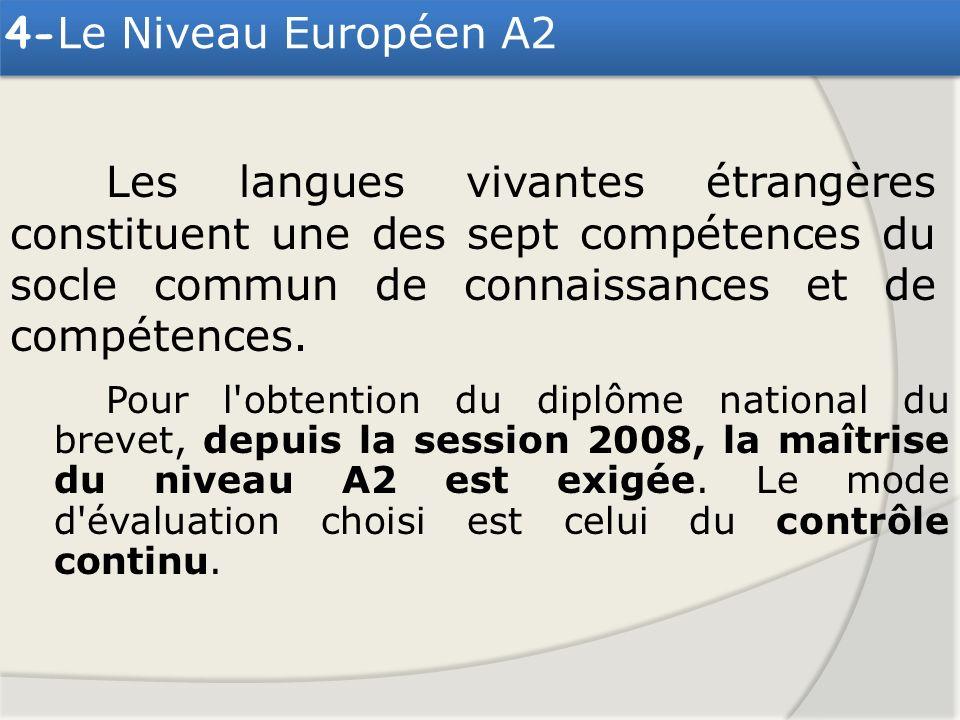 4-Le Niveau Européen A2 Les langues vivantes étrangères constituent une des sept compétences du socle commun de connaissances et de compétences.