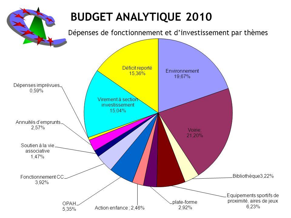 BUDGET ANALYTIQUE 2010 Dépenses de fonctionnement et d'investissement par thèmes