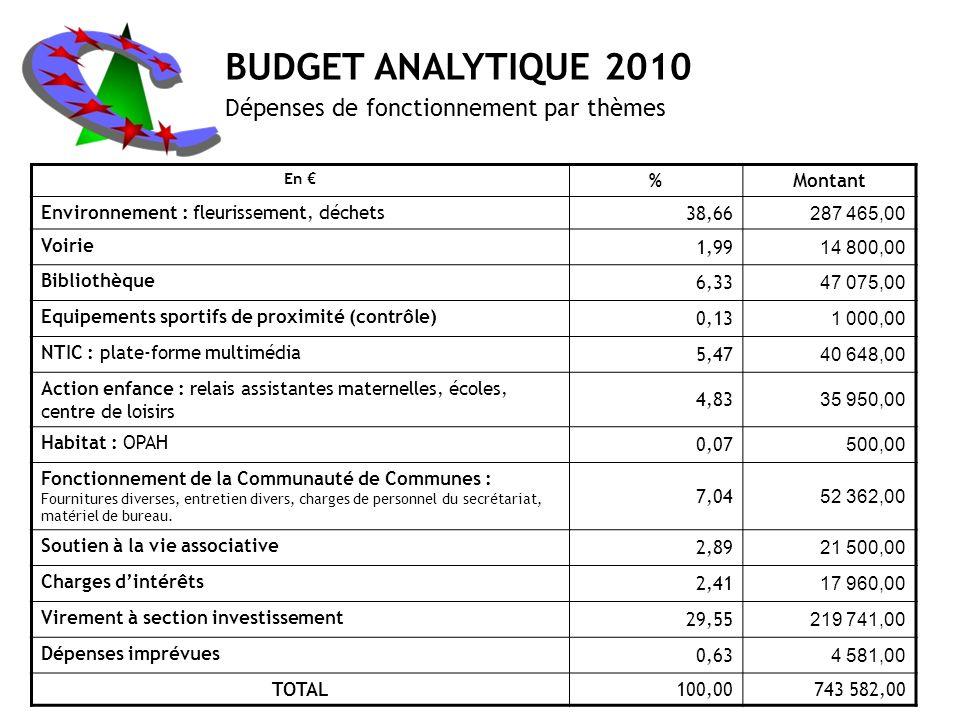 BUDGET ANALYTIQUE 2010 Dépenses de fonctionnement par thèmes % Montant