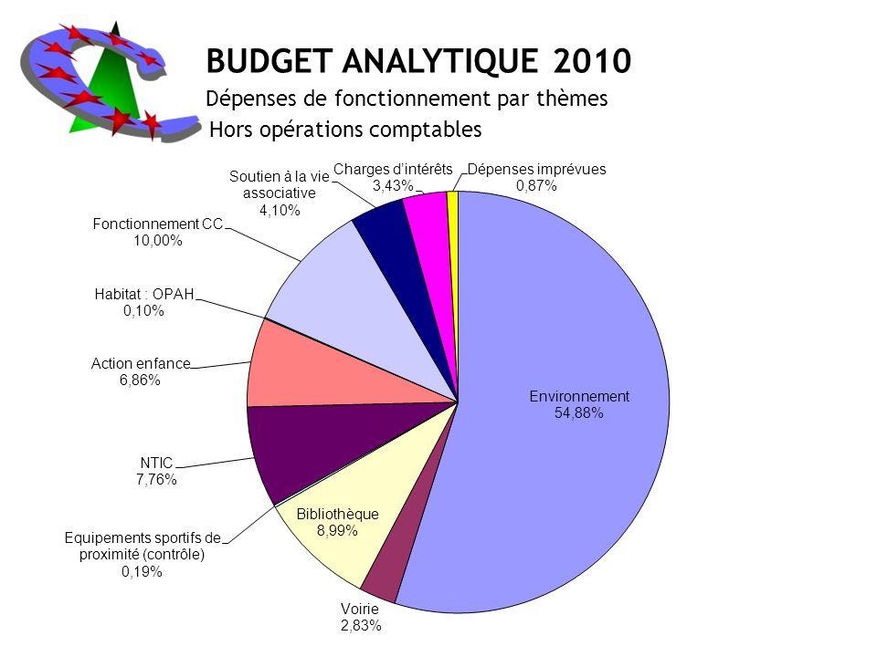 BUDGET ANALYTIQUE 2010 Dépenses de fonctionnement par thèmes