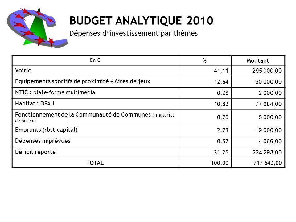 BUDGET ANALYTIQUE 2010 Dépenses d'investissement par thèmes % Montant