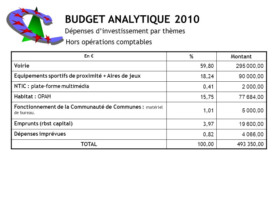 BUDGET ANALYTIQUE 2010 Dépenses d'investissement par thèmes