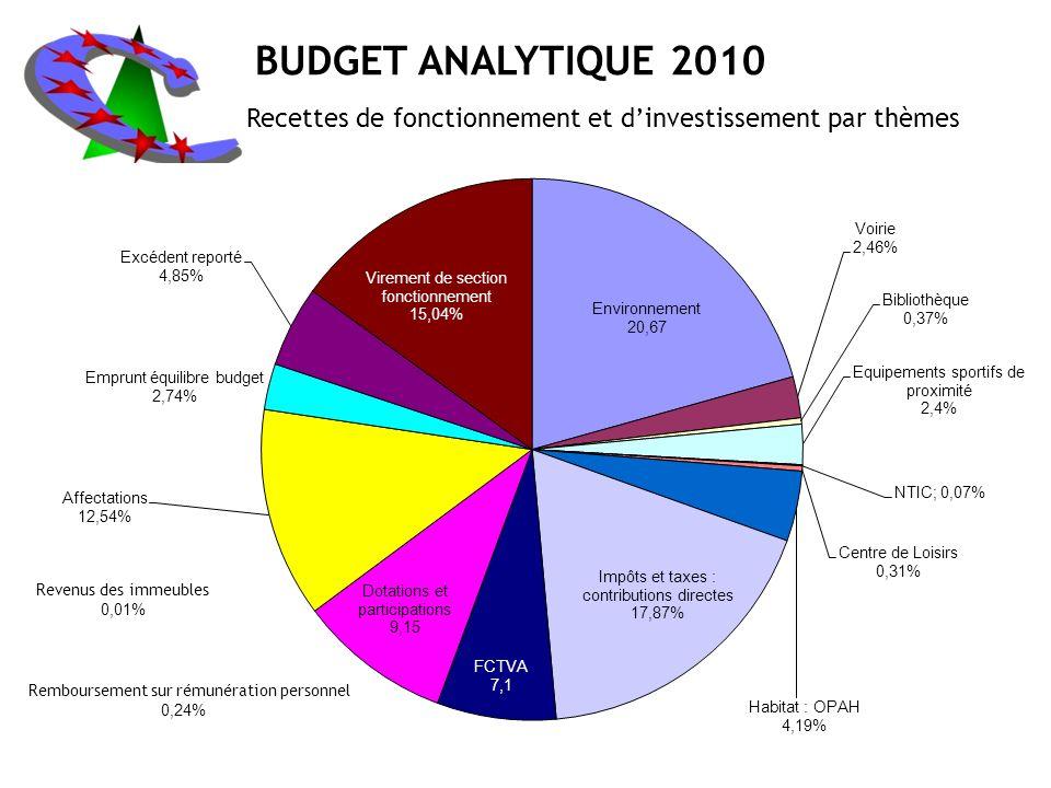 BUDGET ANALYTIQUE 2010 Recettes de fonctionnement et d'investissement par thèmes