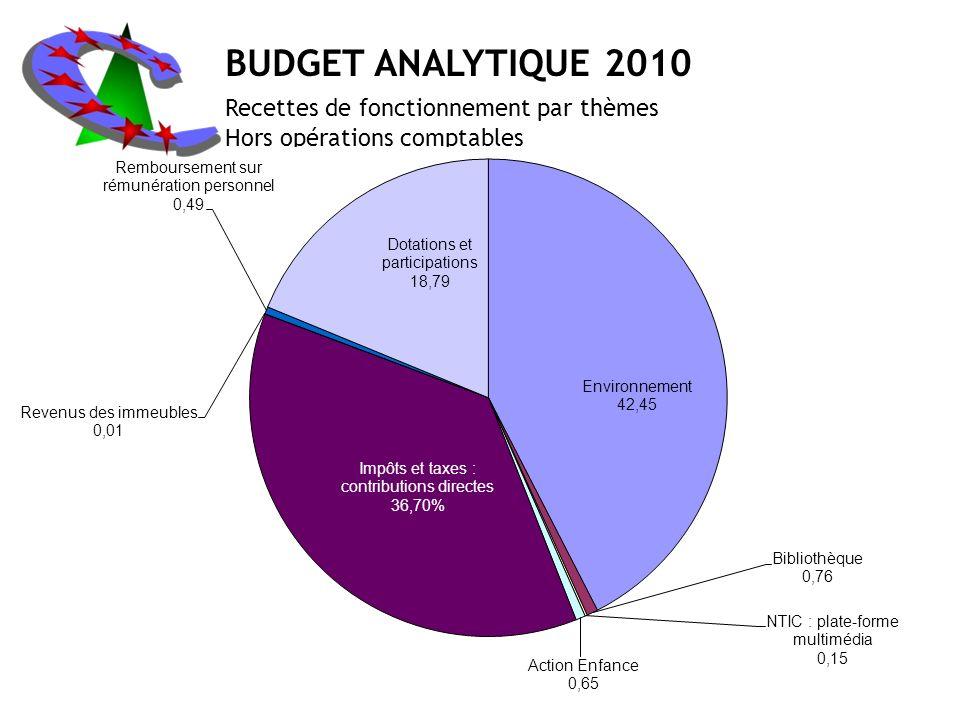 BUDGET ANALYTIQUE 2010 Recettes de fonctionnement par thèmes