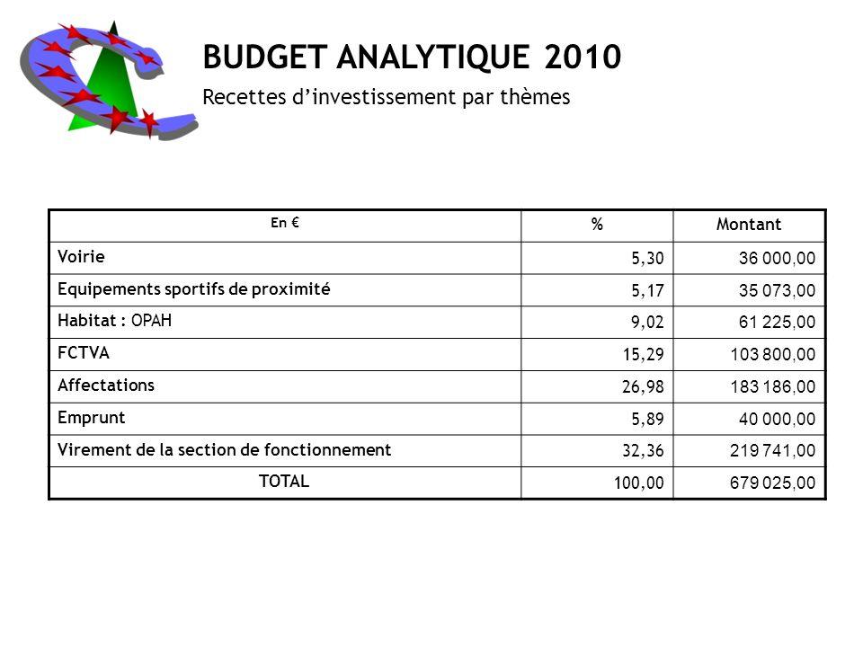 BUDGET ANALYTIQUE 2010 Recettes d'investissement par thèmes % Montant