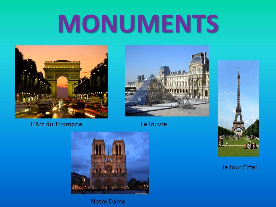 MONUMENTS L Arc du Triomphe Le louvre le tour Eiffel Notre Dame