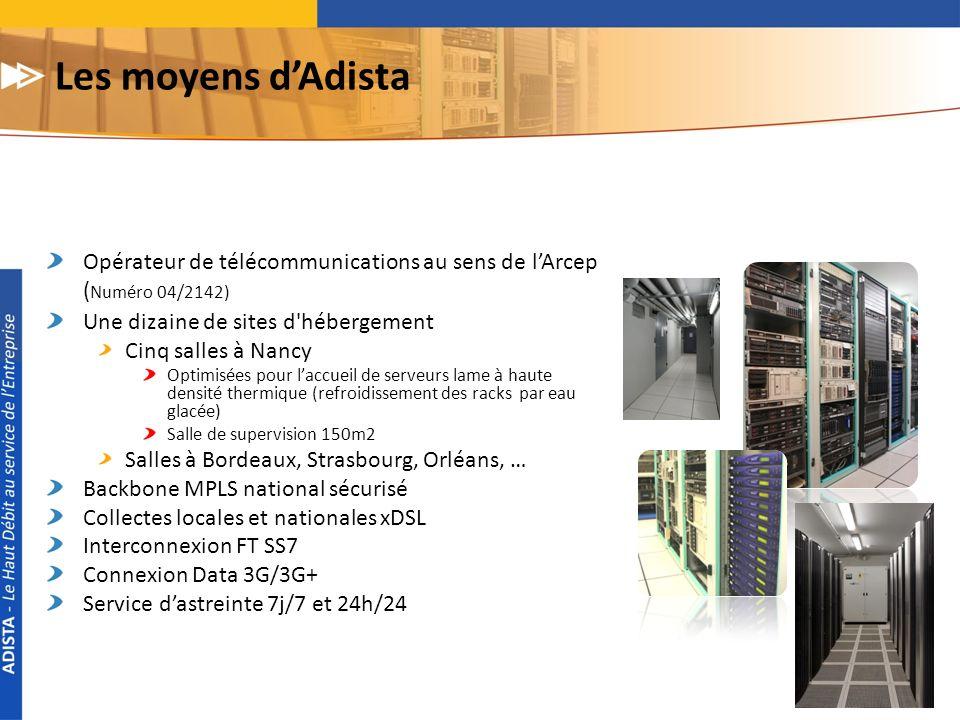 Les moyens d'Adista Opérateur de télécommunications au sens de l'Arcep (Numéro 04/2142) Une dizaine de sites d hébergement.