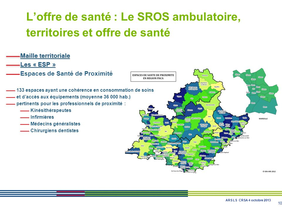 L'offre de santé : Le SROS ambulatoire, territoires et offre de santé