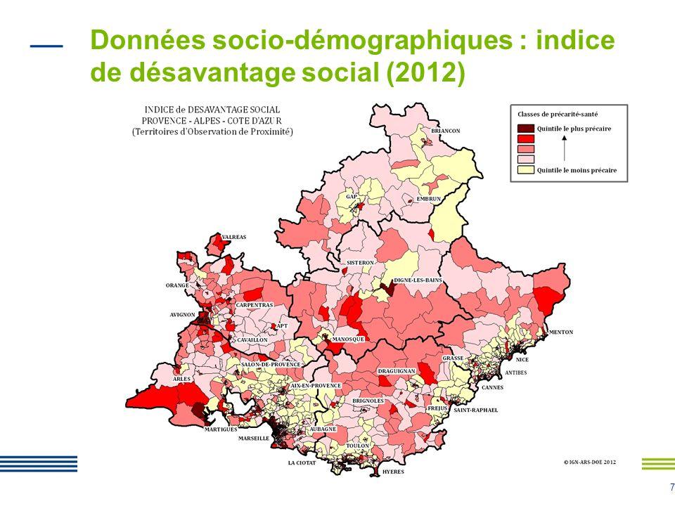 Données socio-démographiques : indice de désavantage social (2012)